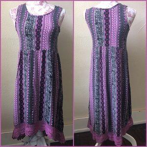 Knit Works Hi Lo Crocheted Hem Dress S Purple